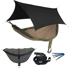 ENO SingleNest OneLink Sleep System - Navy/Olive Hammock With Grey Profly * Don't get left behind, see this great product : Camping Furniture Camping Cot, Camping And Hiking, Hiking Gear, Outdoor Camping, Outdoor Gear, Backpacking Gear, Camping Tips, Climbing Backpack, First Time Camping