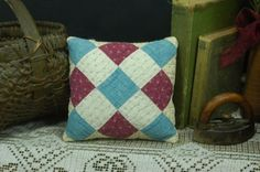 Claret Red Cadet Blue White Shirting Antique Patchwork Quilt Doll Pillow…