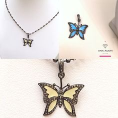 BUTTERFLIES WITH ENAMEL AND DIAMONDS.