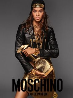 Have you got a good look at their newest fragrance? Check it out with our first look showcasing the Moschino Fresh Gold Ad Campaign starring Joan Smalls! Perfume Tommy Girl, Perfume Good Girl, Moschino, Perfume Ad, Going For Gold, Joan Smalls, Biker Chic, Img Models, Jackets