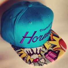 Charlotte Hornets Custom Snapback Hat. Mitchell and Ness GALAXY AZTEC brim.