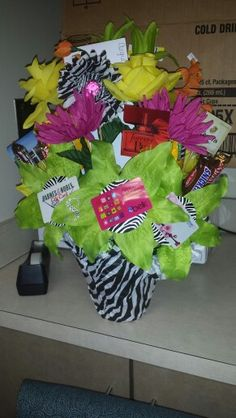 Diy flower gift card basket using accordion fold flowers gift card bouquet i like this idea for a gift for my wedding something negle Images