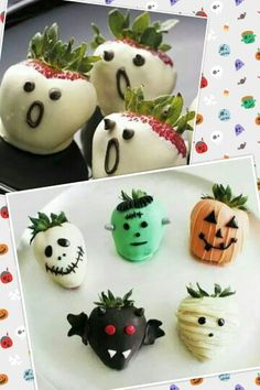 Make spooktacular treats by dipping strawberries in different colors of chocolate and adding different faces and other features.