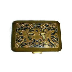 Art Nouveau Compact, Richard Hudnut 30s Art Deco Vanity Case, Vintage... ($36) ❤ liked on Polyvore featuring beauty products and makeup