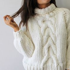 CABLE KNIT  #white #cable #jumper #handmade #wool #bigknits #heartworking…