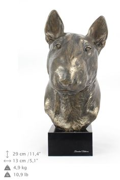 Bullterrier dog statue on marble base limited by ArtDogshopcenter