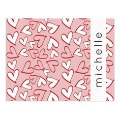 Your Name - Love Romance Hearts - Red Pink White Postcard - love cards couple card ideas diy cyo