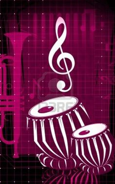 Illustration of a tabla, an Indian music instrument with music notes [per previous pinner]