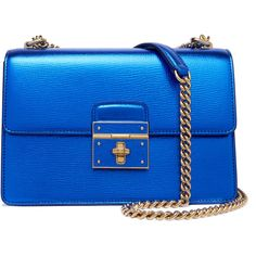 Dolce & Gabbana - Textured-leather Shoulder Bag (€1.020) ❤ liked on Polyvore featuring bags, handbags, shoulder bags, blue, blue handbags, dolce gabbana shoulder bag, blue purse, chain shoulder bag and shoulder bag handbag