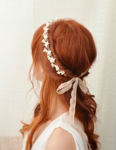 Bridal ivory flower crown. vintage lace headpiece, wedding hair accessories - heirloom