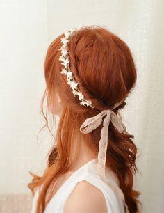 Bridal ivory flower crown. vintage lace headpiece, wedding hair accessories - heirloom. $43.00, via Etsy.