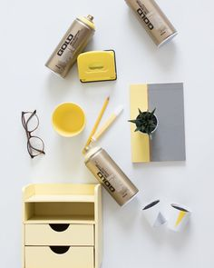 Pantone inspired Office Objects – Bringing your space up to date Space Up, Your Space, White Planters, Gold Spray Paint, Paint Line, Desktop Organization, Gold Line, Ceramic Planters