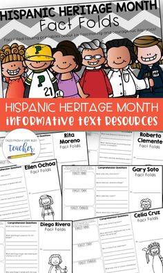 Hispanic Heritage Month {Fact Folds} - Real Time - Diet, Exercise, Fitness, Finance You for Healthy articles ideas Famous Hispanics, Online Music Lessons, Hispanic Heritage Month, Comprehension Questions, Teacher Blogs, Teaching Resources, Classroom Resources, Writing Resources, Close Reading