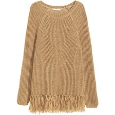 H&M Fringed jumper ($38) ❤ liked on Polyvore featuring tops, sweaters, long fringe top, fringe sweater, beige top, raglan sweater and long jumper