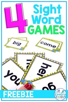 These 4 fun sight word games are a fun way to improve students' reading skills and build reading fluency. Your kindergarten, first grade, and 2nd grade students will beg you to keep playing these easy and interactive games during centers, guided reading groups, or independent work time! Be sure to check out these printable FREE sight word games with flashcards that your elementary students will love to play! #thereadingroundup #sightwords #kindergarten #firstgrade #guidedreading