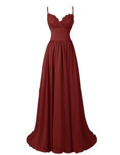 Diyouth A-Line Spaghetti Straps Sweetheart Long Lace Chiffon Prom Dress at Amazon Women's Clothing store: