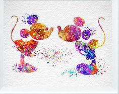 Mickey und Minnie Maus Druck abstrakte Aquarell Kinderzimmer Wand Kunst Disney Poster Disney Hochzeit Geschenk Home Wand Minnie Mouse Zimmer Dekor A41