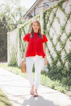 red eyelet top (a lonestar state of southern) Red Shirt Outfits, Red Top Outfit, Edgy Outfits, Preppy Outfits, Classic Outfits, Preppy Style, Summer Outfits, Cute Outfits, Fashion Outfits