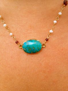 Anabelia Aqua Turquoise Necklace Dipped in 24kt Gold by luxdivine, $75.00