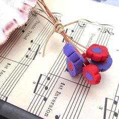 Flower Headpins Red and Purple Polymer Clay by rosebud101 on Etsy, $12.00