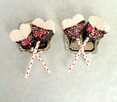 Valentine's Day Gourmet Marshmallow Pops- Strawberry or Vanilla Bean by PSSweet on Etsy