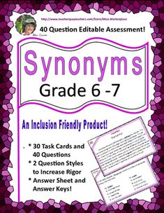 BRAND NEW PRODUCT!!  Half price until 7am 5/29/16. Feedback is graciously appreciated. The task cards can be used for a centers, follow-up or drill and practice after a lesson on synonyms has been taught, remedial activities, pair and share, standards-based remediation, summer school hands on activities, ELL, ESL, and special education and synonym activities, and individual assessments.