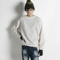 Remember Click Slouchy Marl Knit Pullover IVORY BLUE DARK GRAY ONE SIZE Korean #RememberClick #Crewneck