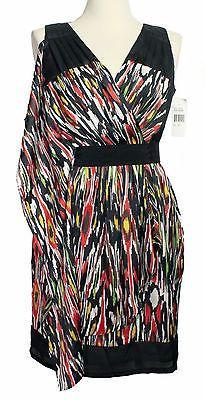 NEW NWT Silky Geometric Multicolor & Black Dress -High Fashion Designer Style 10   eBay