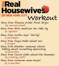 The Real Housewives of NYC workout! Submission :) Want to see more workouts like this one? Follow us here.