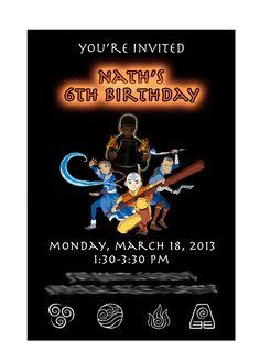 Avatar: The Last Airbender Birthday Party Invitation