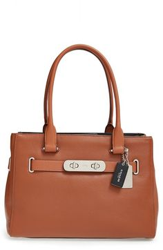 COACH 'Swagger' ColorblockLeather Tote available at #Nordstrom