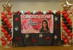 Graduation Centerpiece Ideas | Graduation Banner - Stage Decorations - Balloon Columns - Silver Star ...