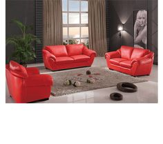 8080 Modern Red Leather Living Room By ESF Furniture