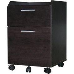 Rolling File Cabinet, Espresso