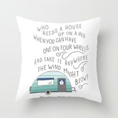 Wanderlust Pillow Cover Travel my house Quote Art Pillowcase Camper Camping Cute Square throw Bedroom Decor Mint Green White Black Typograp