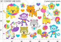 Sweet Rainbow Animals Clipart Clip Art and por pixelpaperprints