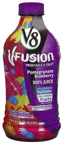 V8 V-Fusion Pomegranate Blueberry 100% Juice, 46-Fl Oz Bottles (Pack of 8) >>> Want additional info? Click on the image.