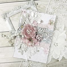 """253 Likes, 16 Comments - KAvi (@s_kavi) on Instagram: """"Shabby chic wedding card with @beeshabby papers #handmadecards ,#beeshabby ,#lesiazghardastamps…"""""""