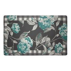 Laura Ashley Hydrangea Checkered Floral Teal 20 in. x 32 in. Memory Foam Kitchen Mat LAYMK005283 at The Home Depot - Mobile