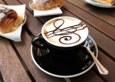 Would you like some music with that latte? Nothing like staff and treble clef chocolate latte art #piano #inspire #eat