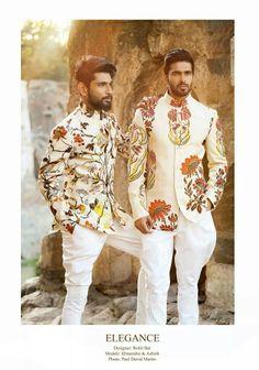 Men white print royal jodhpurs bandhgalay Motifs flowers model designer rohit bal