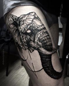 dark art elephant tattoo idea on hip