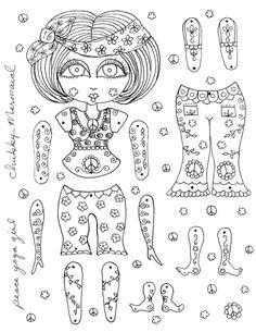 Instant Download Paper Dolls Peace Yoga Girl door ChubbyMermaid