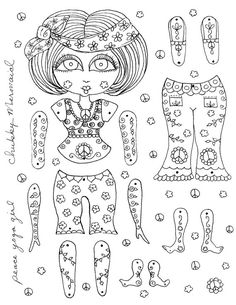 Instant Download Paper Dolls Peace Yoga Girl by ChubbyMermaid, $1.99