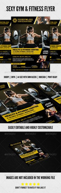 Sexy Fitness & Gym Flyer Design. Can be purchased as a template at a reasonable price.: