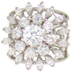 18K white gold & diamond open shank handmade sunburst ring