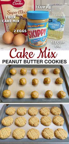 Homemade Peanut Butter Cookies, Butter Cookies Recipe, Yummy Cookies, Betty Crocker Peanut Butter Cookie Recipe, Cookies With Cake Mix, Homemade Cake Mixes, Chocolate Cake Mix Cookies, Quick Cookies, Butter Pie
