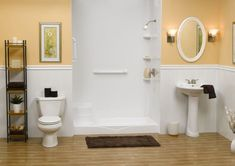 bathroom remodel for elderly... also looks good for kids and dogs!