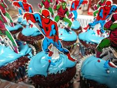 Spider-man cupcakes for kids birthday