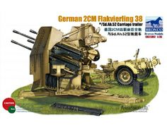 The Bronco German 2cm Flakvierling 38 with Trailer in 1/35 scale from the plastic gun model range accurately recreates the real life German anti-aircraft gun used during World War II.  This plastic gun kit requires paint and glue to complete.